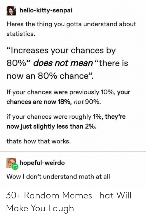 "Statistics: hello-kitty-senpai  Heres the thing you gotta understand about  statistics.  ""Increases your chances by  80%"" does not mean ""there is  now an 80% chance""  If your chances were previously 10% , your  chances are now 18% , not 90 %.  if your chances were roughly 1%, they're  now just slightly less than 2%.  thats how that works  hopeful-weirdo  Wow I don't understand math at all 30+ Random Memes That Will Make You Laugh"