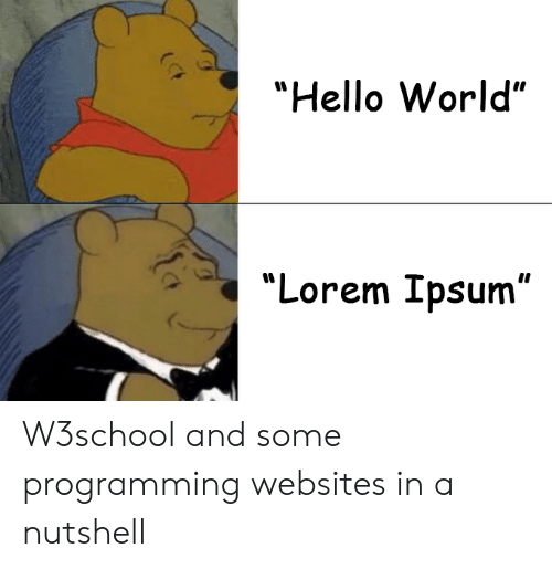 "Hello, World, and Programming: ""Hello World""  ""Lorem Ipsum"" W3school and some programming websites in a nutshell"