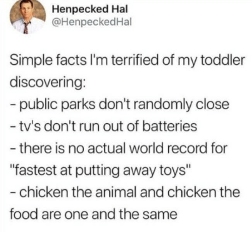 """Parks: Henpecked Hal  @HenpeckedHal  Simple facts I'm terrified of my toddler  discovering:  -public parks don't randomly close  - tv's don't run out of batteries  -there is no actual world record for  """"fastest at putting away toys""""  -chicken the animal and chicken the  food are one and the same"""