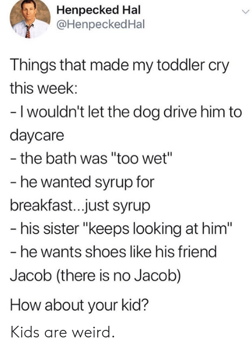 """Dank, Shoes, and Weird: Henpecked Hal  @HenpeckedHal  Things that made my toddler cry  this week:  - I wouldn't let the dog drive him to  daycare  the bath was """"too wet""""  - he wanted syrup for  breakfast..just syrup  - his sister """"keeps looking at him""""  - he wants shoes like his friend  Jacob (there is no Jacob)  How about your kid? Kids are weird."""