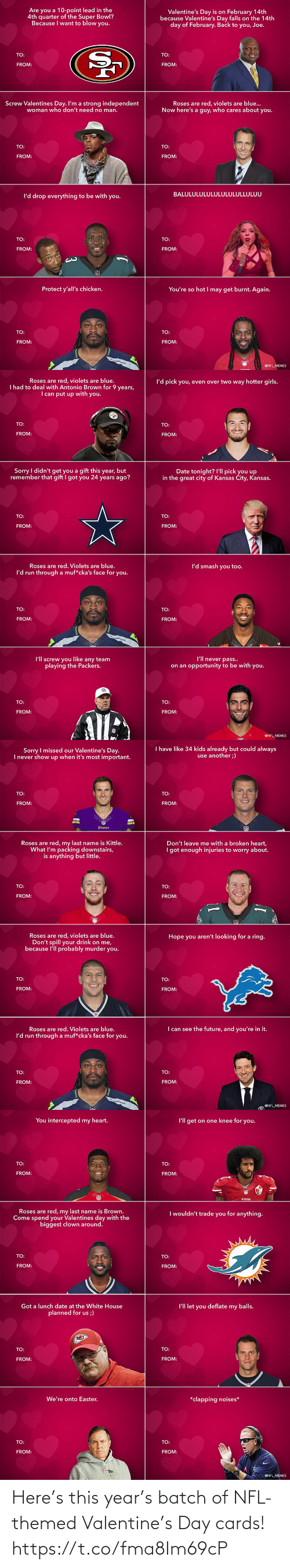 year: Here's this year's batch of NFL-themed Valentine's Day cards! https://t.co/fma8Im69cP