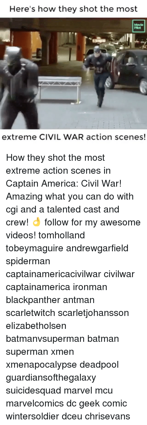 Awesomes: Here's how they shot the most  extreme CIVIL WAR action scenes! How they shot the most extreme action scenes in Captain America: Civil War! Amazing what you can do with cgi and a talented cast and crew! 👌 follow for my awesome videos! tomholland tobeymaguire andrewgarfield spiderman captainamericacivilwar civilwar captainamerica ironman blackpanther antman scarletwitch scarletjohansson elizabetholsen batmanvsuperman batman superman xmen xmenapocalypse deadpool guardiansofthegalaxy suicidesquad marvel mcu marvelcomics dc geek comic wintersoldier dceu chrisevans