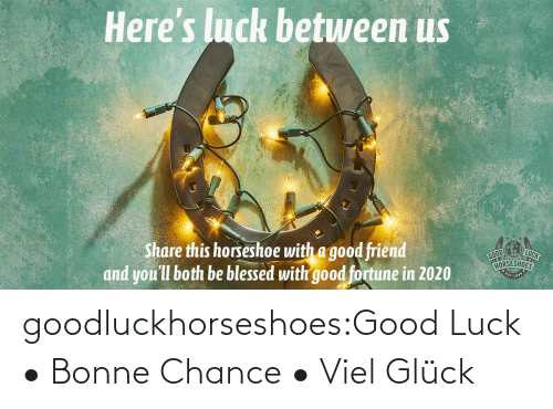Luck: Here's luck betuween us  LUCK  Share this horseshoe with a good friend  and you'll both be blessed with good fortune in 2020  HORSESHOES goodluckhorseshoes:Good Luck • Bonne Chance • Viel Glück