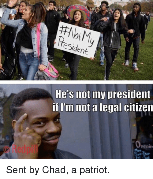 Not My President: He's not my president  if I'm not a legal citizen  © Redpil  penin Sent by Chad, a patriot.