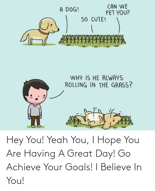 goals: Hey You! Yeah You, I Hope You Are Having A Great Day! Go Achieve Your Goals! I Believe In You!
