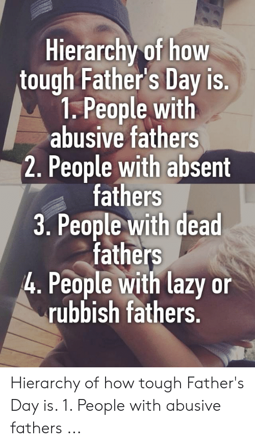 Hierarchy of How Tough Father's Day Is 1 People With Abusive