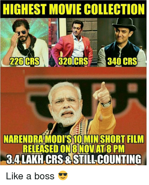Still Counts: HIGHEST MOVIE COLLECTION  226 CRS  320 CRS  340 CRS  NARENDRAMODITS10MIN SHORT FILM  RELEASED ONBINOVAT PM  TT  CRS STILL COUNTING Like a boss 😎