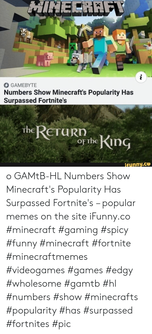 Funny, Memes, and Minecraft: HINECRAFY  i  GAMEBYTE  Numbers Show Minecraft's Popularity Has  Surpassed Fortnite's  The RETURN  OF the King  ifunny.co o GAMtB-HL Numbers Show Minecraft's Popularity Has Surpassed Fortnite's – popular memes on the site iFunny.co #minecraft #gaming #spicy #funny #minecraft #fortnite #minecraftmemes #videogames #games #edgy #wholesome #gamtb #hl #numbers #show #minecrafts #popularity #has #surpassed #fortnites #pic
