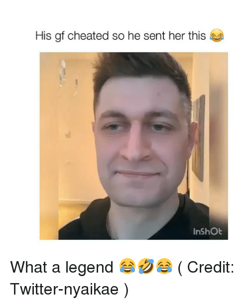 Memes, Twitter, and 🤖: His gf cheated so he sent her this  InShOt What a legend 😂🤣😂 ( Credit: Twitter-nyaikae )