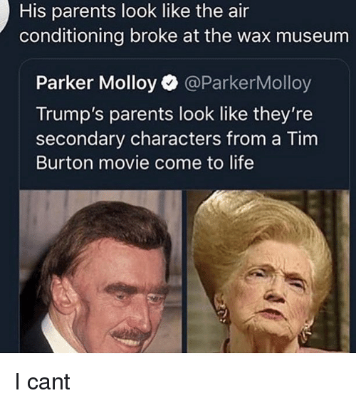 air conditioning: His parents look like the air  conditioning broke at the wax museum  Parker Molloy @ParkerMolloy  Trump's parents look like they're  secondary characters from a Tim  Burton movie come to life I cant