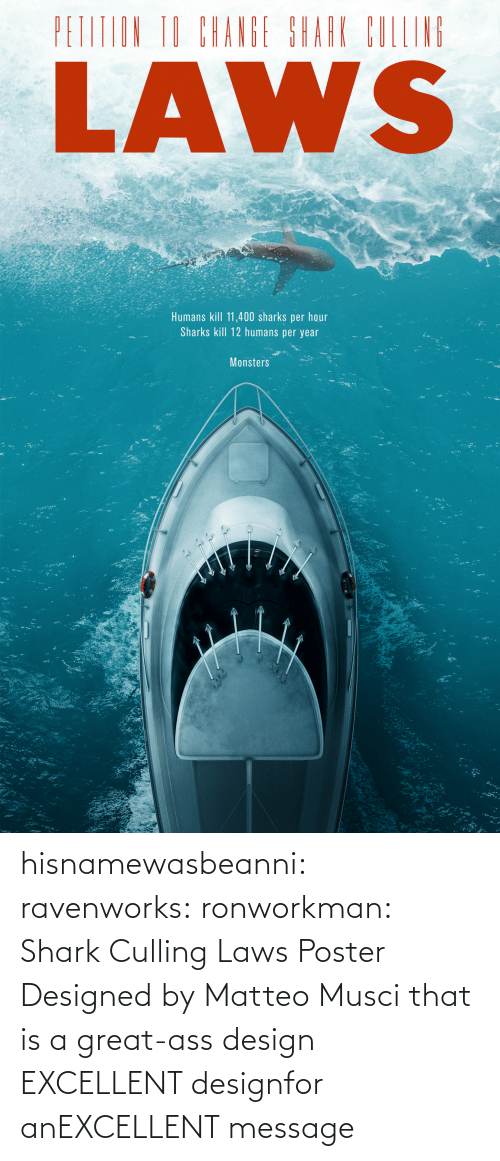ass: hisnamewasbeanni: ravenworks:  ronworkman:  Shark Culling Laws Poster Designed byMatteo Musci    that is a great-ass design  EXCELLENT designfor anEXCELLENT message