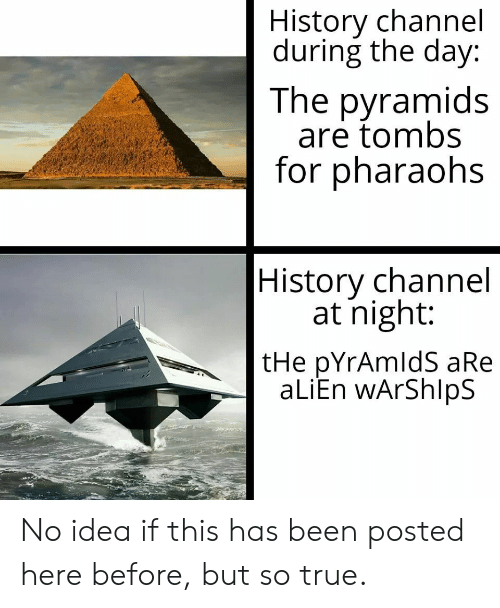 True, Alien, and History: History channel  during the day:  The pyramids  are tombs  for pharaohs  History channel  at night:  tHe pYrAmldS aRe  aLiEn wArShlpS No idea if this has been posted here before, but so true.