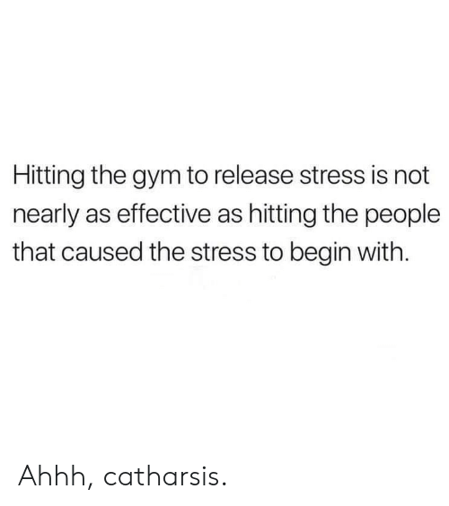 Gym, Ahhh, and Stress: Hitting the gym to release stress is not  nearly as effective as hitting the people  that caused the stress to begin with. Ahhh, catharsis.