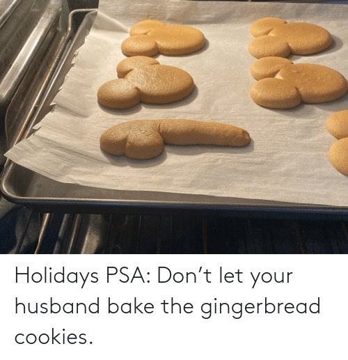 Husband: Holidays PSA: Don't let your husband bake the gingerbread cookies.