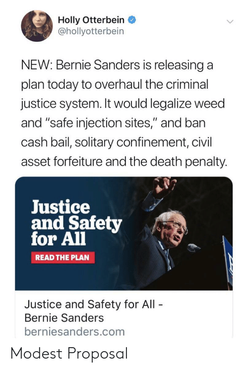 "Bernie Sanders, Weed, and Death: Holly Otterbein  @hollyotterbein  NEW: Bernie Sanders is releasing a  plan today to overhaul the criminal  justice system. It would legalize weed  and ""safe injection sites,"" and ban  cash bail, solitary confinement, civil  asset forfeiture and the death penalty.  Justice  and Safety  for All  READ THE PLAN  Justice and Safety for All  Bernie Sanders  berniesanders.com Modest Proposal"