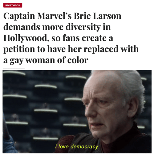 hollywood: HOLLYWOOD  Captain Marvel's Brie Larson  demands more diversity in  Hollywood, so fans create a  petition to have her replaced with  gay womanof color  а  T love democracy