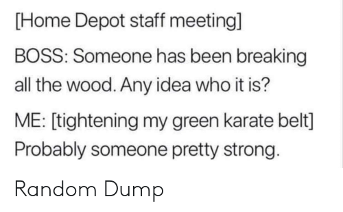 Home, Home Depot, and Strong: [Home Depot staff meeting]  BOSS: Someone has been breaking  all the wood. Any idea who it is?  ME: [tightening my green karate belt]  Probably someone pretty strong. Random Dump