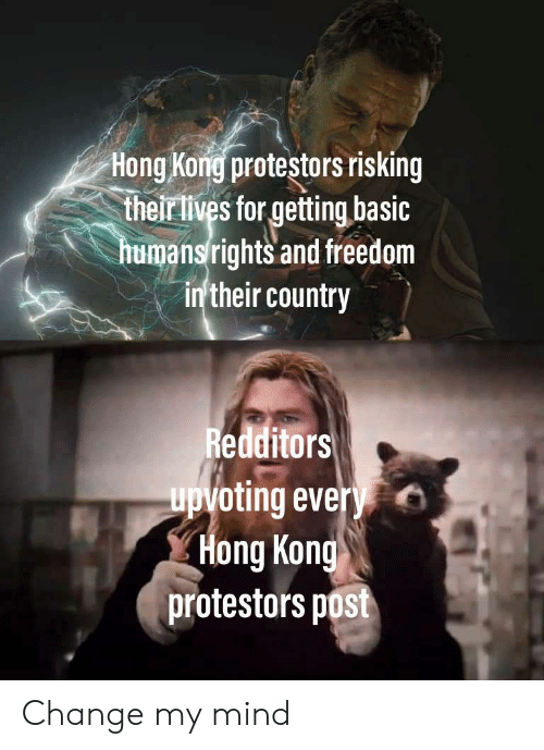 Upvoting: Hong Kong protestors risking  their lives for getting basic  humansrights and freedom  in'their country  Redditors  upvoting every  Hong Kong  protestors post Change my mind