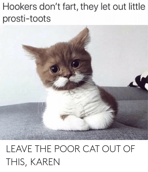 Toots: Hookers don't fart, they let out little  prosti-toots LEAVE THE POOR CAT OUT OF THIS, KAREN