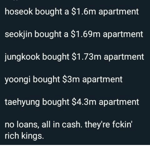 Loans, Kings, and All: hoseok bought a $1.6m apartment  seokjin bought a $1.69m apartment  jungkook bought $1.73m apartment  yoongi bought $3m apartment  taehyung bought $4.3m apartment  no loans, all in cash. they're fckin'  rich kings.