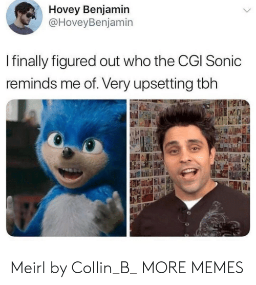 Dank, Memes, and Target: Hovey Benjamin  @HoveyBenjamin  I finally figured out who the CGI Sonic  reminds me of. Very upsetting tbh Meirl by Collin_B_ MORE MEMES