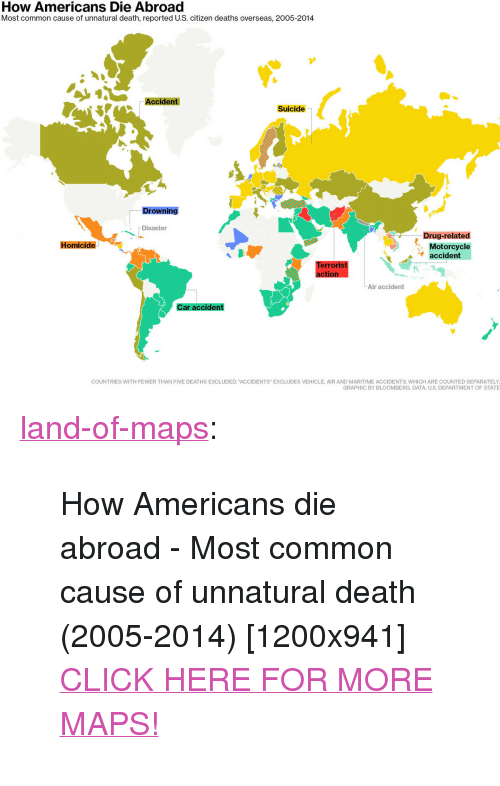 """Click, Tumblr, and Blog: How Americans Die Abroad  Most common cause of unnatural death, reported U.S. citizen deaths overseas, 2005-2014  Accident  Suicide  Drowning  Disaster  Drug-related  Homicide  Motorcycle  accident  erroriS  tion  Air accident  ar acciden  COUNTRIES WITH FEWER THAN FIVE DEATHS EXCLUDED. """"ACCIDENTS"""" EXCLUDES VEHICLE, AIR AND MARITIME ACCIDENTS, WHICH ARE COUNTED SEPARATELY  GRAPHIC BY BLOOMBERG. DATA: U.S. DEPARTMENT OF STATE <p><a href=""""http://land-of-maps.tumblr.com/post/155306048965/how-americans-die-abroad-most-common-cause-of"""" class=""""tumblr_blog"""">land-of-maps</a>:</p>  <blockquote><p>How Americans die abroad - Most common cause of unnatural death (2005-2014) [1200x941]<br/><a href=""""http://landofmaps.com/"""">CLICK HERE FOR MORE MAPS!</a></p></blockquote>"""