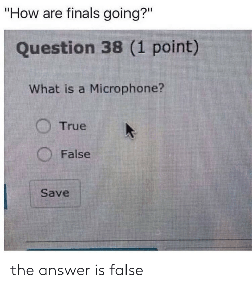 """The Answer: """"How are finals going?""""  Question 38 (1 point)  What is a Microphone?  True  False  Save the answer is false"""