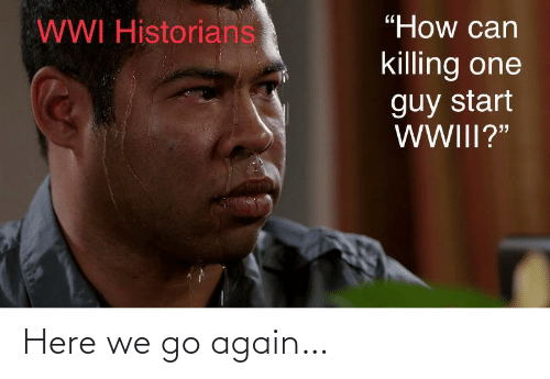 """Here We: """"How can  WWI Historians  killing one  guy start  WWIII?"""" Here we go again…"""