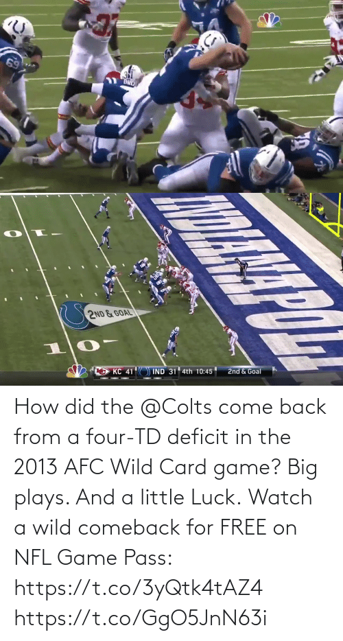 pass: How did the @Colts come back from a four-TD deficit in the 2013 AFC Wild Card game?  Big plays. And a little Luck.  Watch a wild comeback for FREE on NFL Game Pass: https://t.co/3yQtk4tAZ4 https://t.co/GgO5JnN63i