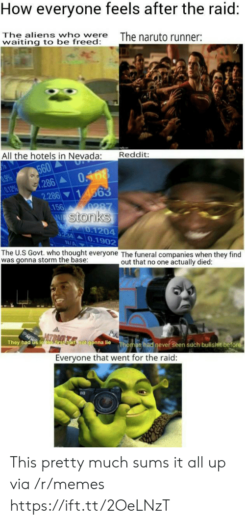 Stonks: How everyone feels after the raid:  The aliens who were  waiting to be freed:  The naruto runner:  Reddit:  All the hotels in Nevada:  560  286  0168  14563  9660  0.12%  2.286  .156  0287  W Stonks  d 0.1204  0234 0.1902  N/A  The U.S Govt. who thought everyone The funeral companies when they find  was gonna storm the base  out that no one actually died:  ls rsomls.notgonna lie  They had Gs in efirst  Thomas had never seen such bullshit before  Everyone that went for the raid: This pretty much sums it all up via /r/memes https://ift.tt/2OeLNzT