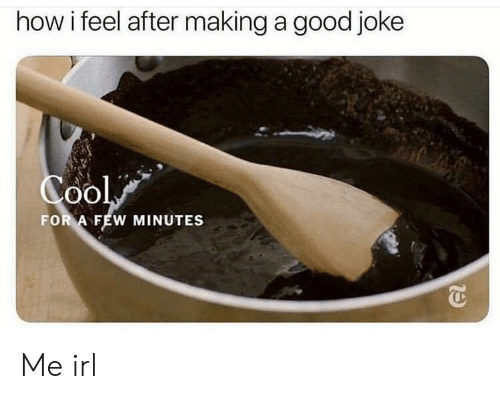 Good, Irl, and Me IRL: how i feel after making a good joke  FOR A FEW MINUTES Me irl