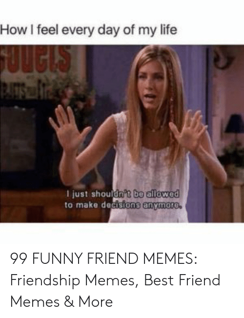 Best Friend, Funny, and Life: How I feel every day of my life  I just should  to make decisions anyn  be allowed  Asions anymoro 99 FUNNY FRIEND MEMES: Friendship Memes, Best Friend Memes & More
