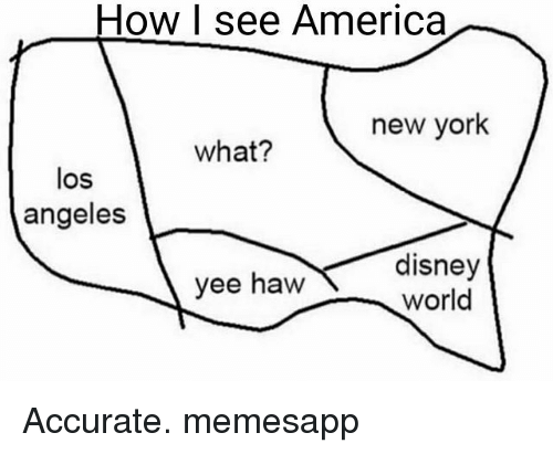 America, Disney, and Disney World: How I see America  new york  what?  los  angeles  disney  world  ee haW Accurate. memesapp