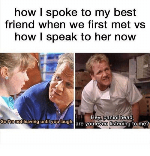 Best Friend, Head, and Best: how I spoke to my best  friend when we first met vs  how I speak to her now  SoUmnotleaving  until you  laugha  Hey, panini head,  are vou even listening to me