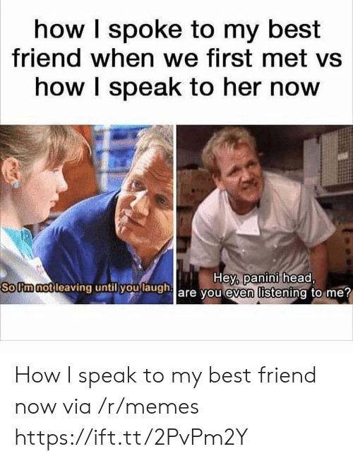Best Friend, Head, and Memes: how I spoke to my best  friend when we first met vs  how I speak to her now  SoUmnotleaving  until you  laugha  Hey, panini head,  are vou even listening to me How I speak to my best friend now via /r/memes https://ift.tt/2PvPm2Y