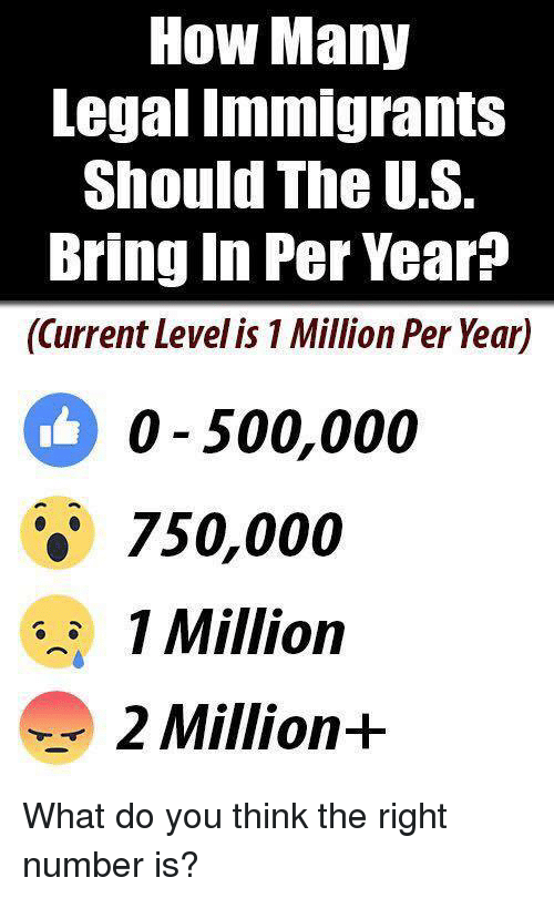 Memes, 🤖, and How: How Many  Legal Tmmigrants  Should The U.S.  Bring In Per Year?  (Current Level is 1 Million Per Year)  0 500,000  750,000  1 Million  2 Million+ What do you think the right number is?