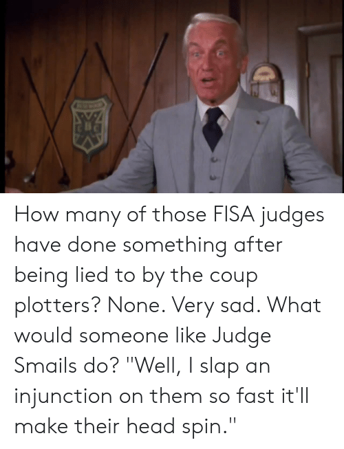 "Judge Smails: How many of those FISA judges have done something after being lied to by the coup plotters? None. Very sad. What would someone like Judge Smails do? ""Well, I slap an injunction on them so fast it'll make their head spin."""