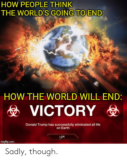 Donald Trump, Life, and Earth: HOW PEOPLE THINK  THE WORLD'S GOING TO END:  HOW THE WORLD WILL END:  VICTORYD  Donald Trump has successfully eliminated all life  on Earth  OK  imgflip.com Sadly, though.