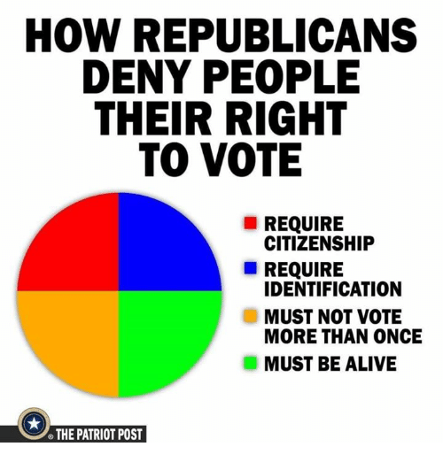 the patriot: HOW REPUBLICANS  DENY PEOPLE  THEIR RIGHT  TO VOTE  REQUIRE  CITIZENSHIP  REQUIRE  IDENTIFICATION  MUST NOT VOTE  MORE THAN ONCE  MUST BE ALIVE  THE PATRIOT POST