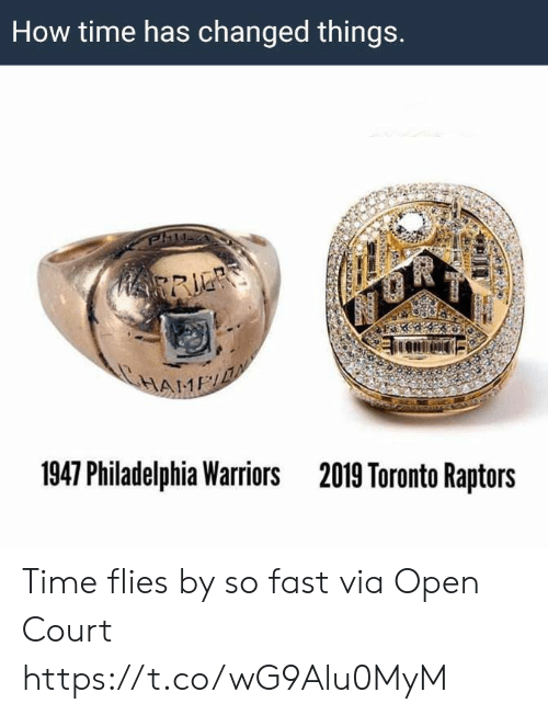 court: How time has changed things.  HRRIE  HAME  1947 Philadelphia Warriors  2019 Toronto Raptors Time flies by so fast   via Open Court https://t.co/wG9Alu0MyM