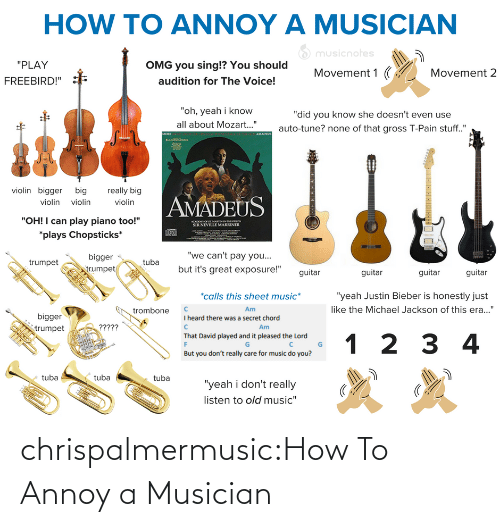 """1 2: HOW TO ANNOY A MUSICIAN  O musicnotes  """"PLAY  OMG you sing!? You should  Movement 1 (  Movement 2  audition for The Voice!  FREEBIRD!""""  """"oh, yeah i know  """"did you know she doesn't even use  all about Mozart..""""  auto-tune? none of that gross T-Pain stuff.""""  AMADEUS  MORE  violin bigger big  really big  AMADEUS  violin violin  violin  """"OH! I can play piano too!""""  ACADO O SE MARTINNTHELOS  SIR NEVILLE MARRINER  *plays Chopsticks*  """"we can't pay you...  bigger  egn  but it's great exposure!""""  trumpet  trumpet  guitar  guitar  guitar  guitar  *calls this sheet music*  """"yeah Justin Bieber is honestly just  like the Michael Jackson of this era...""""  Am  trombone  bigger  I heard there was a secret chord  ?????  Am  trumpet  That David played and it pleased the Lord  1 2 3 4  But you don't really care for music do you?  tuba  tuba  tuba  """"yeah i don't really  listen to old music"""" chrispalmermusic:How To Annoy a Musician"""