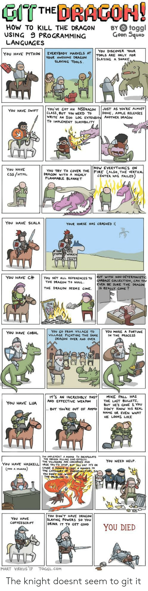 You Died: HOW TO KILL THE DRAGON  USING 9 PROGRAMMING  LANGUAGES  BY O toggl  Goon Squar  You DISCOVER YoUR  YOU HAVE PYTHON | | EVERYBODY MARVELS AT | |TOOLS ARE ONLY FOR  YOUR AWESOME DRAGON  SLAYING A SNAKE  SLAYING TOOLS  YOU'VE GOT AN NSDRAGONJUST AS YOURE ALMOST  CLASS, BUT YoU NEED TO  WRITE AN Soo LOC EXTENSION ANOTHER DRAGON  To IMPLEMENT SLAYABILITY  You HAVE SWIFT  DONE, APPLE RELEASES  NoW EVERYTHING'S ON  You HAVE  Css/HTML  YoU TRY To coVEK THE FIRE (ALSo, THE VERTI  DRAGON WITH A HIGHLY  CENTER HAS FAILED  FLAMMABLE BLANKET  You HAVE SCALA  YOUR HORSE HAS CRASHED :  AS  WORK  YOU HAVE C杄 | | YOU SET ALL REFERENCES TO | BUT WITH NON-DETERMINISTIC  GARBAGE COLLECTION, CAN You  EVER BE SURE THE DRAGON  THE DRAGON TO NULL  THE DRAGON SEEMS GONE. IS REALLY GONE?  YoU GO FRoM VILLAGE TD  VILLAGE FIGHTING THE SAME  YOU HAVE COBOL  YOU MAKE A FORTUNE  IN THE PROCESS  DRAGON OVER AND OVER  IT'S AN INCREDIBLY FAST! MIKE PALL HAS  You HAVE LUAAND EFFECTIVE WANE ES  THE LAST BULLETS,  BUT HES GoNE & YoU  BUT You'RE OUT OF AMMO DON'T KNoW HIS REAL  NAME OR EVEN WHAT  HE LOOKS LIKE  You IMPLEMENT A MONAD To ENCAPSULATE  THE DEAGON KILLING SIDE-EFFECTS  THE VILLAGERS ARE CONCERNED AND  YoU NEED HELP  YOU HAVE HASELLI URGE YOU To STOP, BUT YOU SAY IT'S OK  CAUSE AMONAD IS JUST A MONOID IN  THE CATEGORY OF ENDOFUNSTORS,S  YoU DONT SEE WHAT  AND A MoNAD  THE PROBLEM  YOU DONT HAVE DRAGON  SLAYING PoWERS So You  DRINK IT To GET GOOD  ON11 YOU DIED  You HAVE  COFFEESCRIPT  MART VIRKUS 17 TOGGL.COM The knight doesnt seem to git it