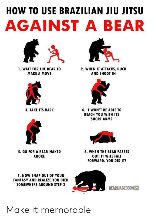 You Died: HOW TO USE BRAZILIAN JIU JITSU  AGAINST A BEAR  1. WAIT FOR THE BEAR TO  2. WHEN IT ATTACKS, DUCK  AND SHOOT IN  MAKE A MOVE  3. TAKE ITS BACK  4. IT WON'T BE ABLE TO  REACH YOU WITH ITS  SHORT ARMS  5. GO FOR A REAR-NAKED  6. WHEN THE BEAR PASSES  CHOKE  OUT, IT WILL FALL  FORWARD. YOU DID IT!  7. NOW SNAP OUT OF YOUR  FANTASY AND REALIZE YOU DIED  SOMEWHERE AROUND STEP 2  BEARMAGEDDON Make it memorable