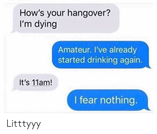 Drinking, Funny, and Hangover: How's your hangover?  I'm dying  Amateur. I've already  started drinking again.  It's 11am!  I fear nothing Litttyyy
