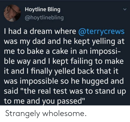 """A Dream, Bling, and Dad: Hoytline Bling  @hoytlinebling  I had a dream where @terrycrews  was my dad and he kept yelling at  me to bake a cake in an impossi-  ble way and I kept failing to make  it and I finally yelled back that it  was impossible so he hugged and  said """"the real test was to stand up  to me and you passed"""" Strangely wholesome."""