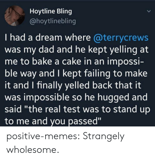 """A Dream, Bling, and Dad: Hoytline Bling  @hoytlinebling  I had a dream where @terrycrews  was my dad and he kept yelling at  me to bake a cake in an impossi-  ble way and I kept failing to make  it and I finally yelled back that it  was impossible so he hugged and  said """"the real test was to stand up  to me and you passed"""" positive-memes:  Strangely wholesome."""
