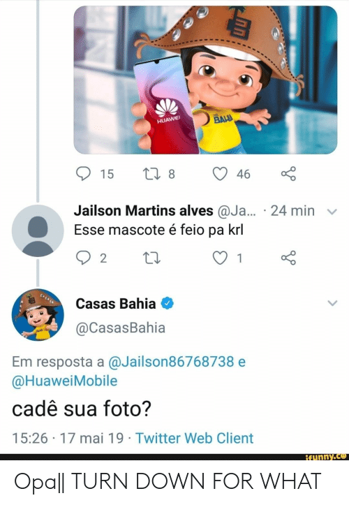 Twitter, Turn Down for What, and Huawei: HUAWEI  Jailson Martins alves @Ja... 24 min v  Esse mascote é feio pa krl  Casas Bahia  @CasasBahia  Em resposta a @Jailson86768738 e  @HuaweiMobile  cadê sua foto?  15:26 17 mai 19 Twitter Web Client  ifunny.ce Opa|| TURN DOWN FOR WHAT