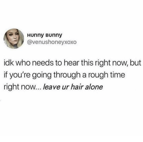 Being Alone, Relationships, and Hair: Hunny Bunny  @venushoneyxoxo  idk who needs to hear this right now, but  if you're going through a rough time  right now... leave ur hair alone