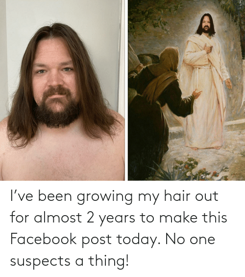 Facebook: I've been growing my hair out for almost 2 years to make this Facebook post today. No one suspects a thing!