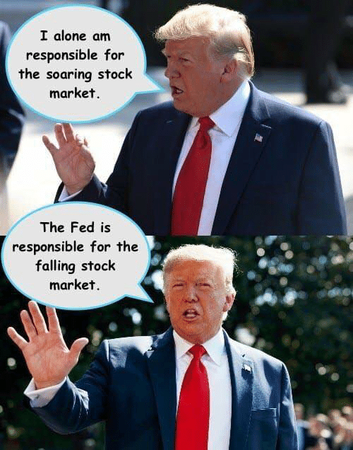 Being Alone, Stock Market, and Market: I alone am  responsible for  the soaring stock  market.  The Fed is  responsible for the  falling stock  market